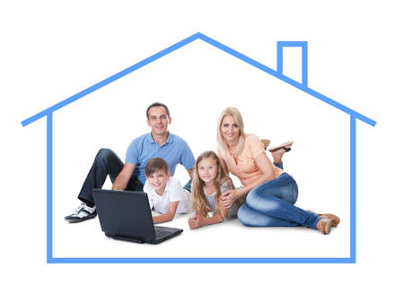 homeowner: Conceptual image of family at home. Isolated On White Background