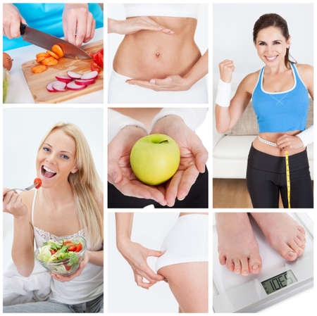 Collage of various dieting related images and concepts photo