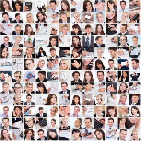 diverse hands: Large set of various business images in the office Stock Photo