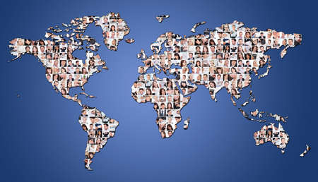 Large set of various business images on world map photo
