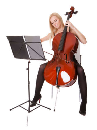 Beautiful young woman playing cello. Isolated on white Stock Photo - 18905955