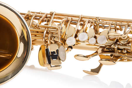 Trumpets: Close-up Of Trumpet Isolated Over White Background Stock Photo