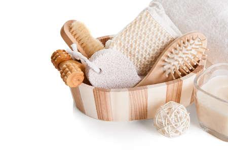 Bath Spa Massage Kit Isolated Over White Background Stock Photo