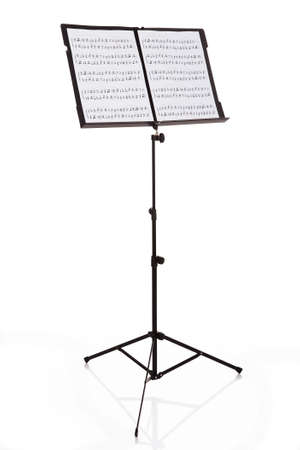 minim: Musical Notes On Stand Over White Background Stock Photo
