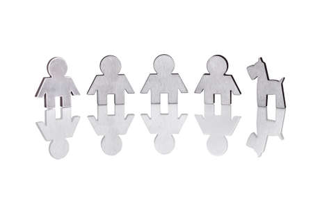 manos unidas: Fotos de figuras familiares aisladas sobre fondo blanco