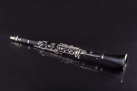 Close-up Of Clarinet Isolated On Black Background photo