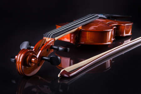 Close-up Of Vintage Violin Over Black Background Stock Photo - 18909496