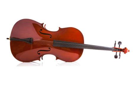 violines: Cello Vintage aislado sobre fondo blanco