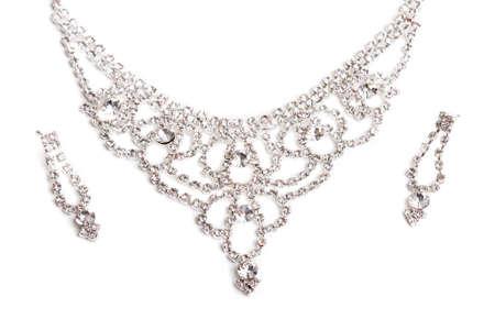 Luxe Diamond Necklace Geïsoleerd Op Witte Achtergrond