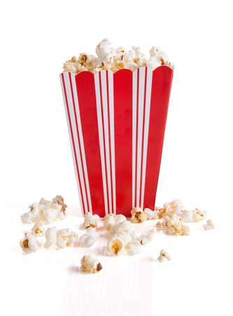 Close-up Of Popcorn Bucket Isolated Over White Background photo