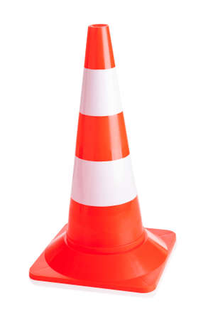 traffic cone: Close-up Of Traffic Cone Isolated Over White Background