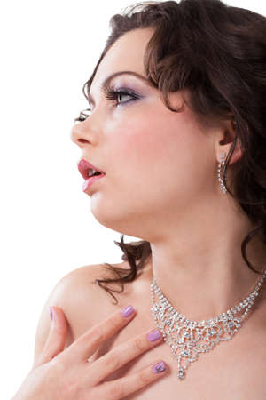 Close-up Of Young Woman Wearing Beautiful Diamond Necklace Stock Photo - 18907436