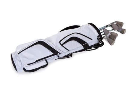 golf bag: Close-up Of A Golf Bag Isolated On White Background Stock Photo