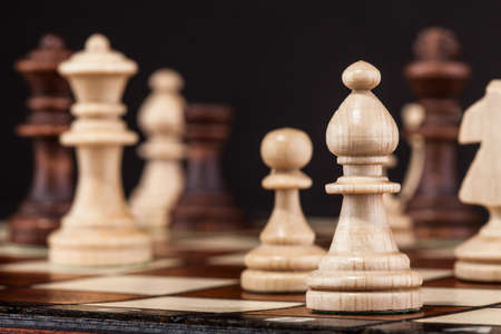 chess knight: Close-up Shot Of Chess Board And Figures