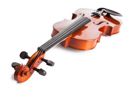 Vintage Violin Isolated Isolated On White Background photo