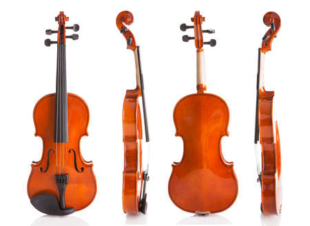 fiddles: Vintage Violin From Four Sides Isolated On White Background Stock Photo