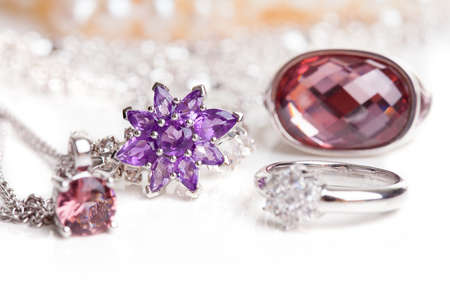Luxurious Diamond Jewelry Isolated Over White Background photo