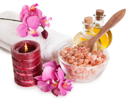 Spa Kit With Sea Salt Isolated Over White Background photo
