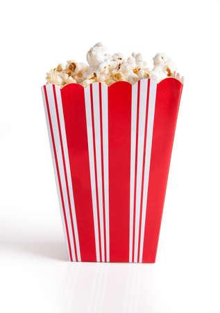 eating popcorn: Close-up Of Popcorn Bucket Isolated Over White Background