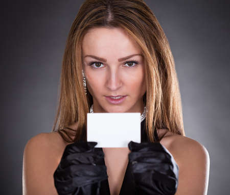 Portrait Of Young Beautiful Woman Visiting Card photo