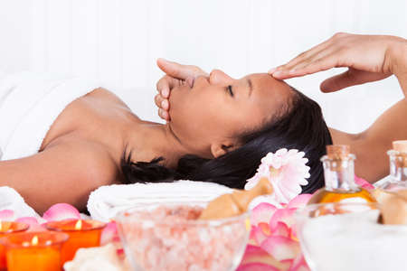 male facial: Portrait Of Woman Having A Massage In Spa