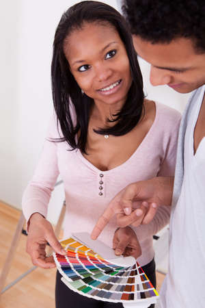 Portrait Of African Couple Choosing Color For New Home photo