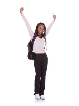 Excited Student Girl Isolated Over White Background Stock Photo - 19168002