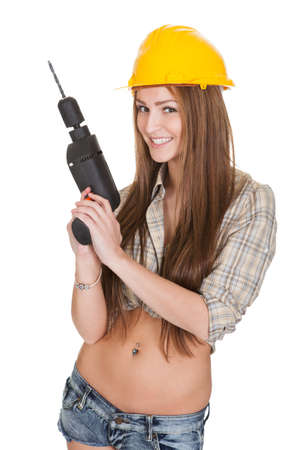 Young Attractive Female Worker Isolated Over White Background photo