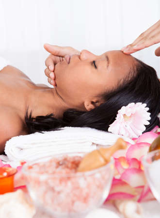 Portrait Of Woman Having A Massage In Spa photo