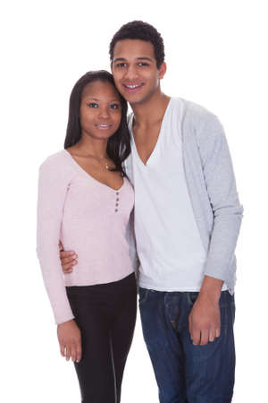 Portrait Of Young Couple Happy Isolated Over White Background Stock Photo - 19341067