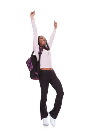 Excited Student Girl Isolated Over White Background Stock Photo - 19341021