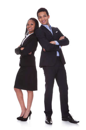 Portrait Young Business Couple Over White Background photo