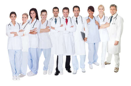 discussion group: Large group of doctors and nurses. Isolated on white