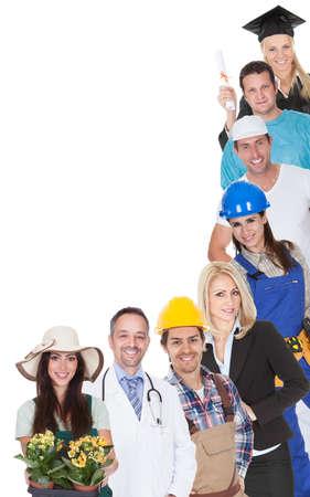 profesiones: Un grupo grande de personas que representan diversas profesiones incluyendo Foto de archivo