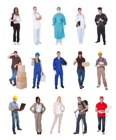 Professionele werknemers, zakenman, kok, piloot, dokter, bouwers. Geïsoleerd op wit