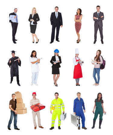 tradesman: Professional workers, businessman, cook, pilot, doctor, builders. Isolated on white