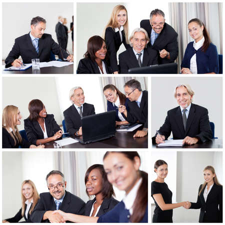 Set of various business images in the office photo