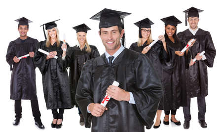 university education: Group of graduate students. Isolated on white
