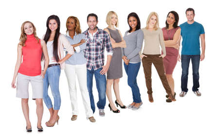 to queue: Casual group of Casual group of people standing isolated over white background Stock Photo