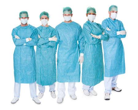 Group photo of surgeons. Isolated on white photo