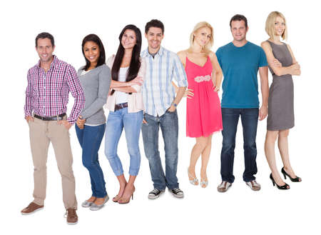 Casual group of Casual group of people standing isolated over white background photo