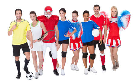 female volleyball: Large group of sports people. Isolated on white
