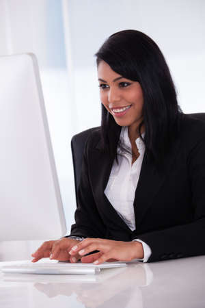Portrait Of Young Businesswoman Using Computer In The Office Stock Photo - 19792038