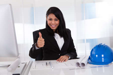 Portrait Of Happy Female Architect Working In Office Stock Photo - 19979818