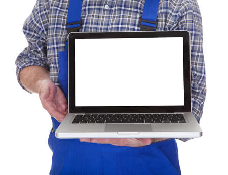 Mature Male Technician Showing Laptop Over White Background photo