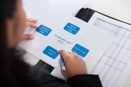 product reviews: Close-up Of Businesswoman Studying Diagram In Office Stock Photo