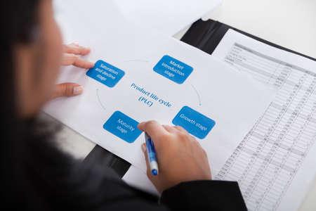 revisando documentos: Primer plano de la empresaria Estudiar Diagrama De Oficina