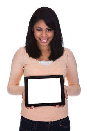 endorse: Young Woman Holding Digital Tablet Over White Background