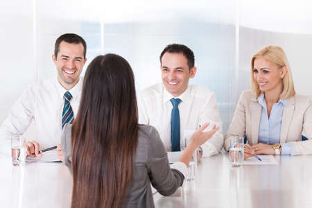 Business Woman Speaking At Interview In Office Stock Photo - 20201259