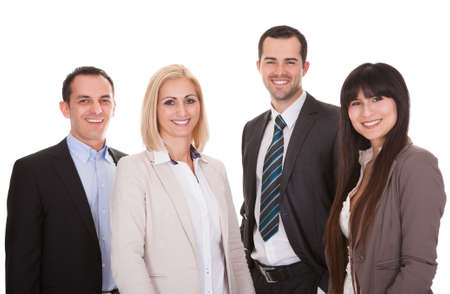 Portrait Of Happy Businesspeople Group Over White Background Stock Photo - 20201114